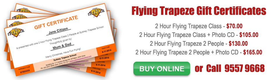 Flying Trapeze Gift Certificates